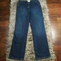TALBOTS Stretch Straight Leg High Rise Dark Wash Blue Denim Jeans Womens Size 8