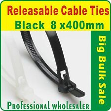 100 x Releasable Black Nylon Cable Ties 8 x 400mm Aus Seller Free Postage