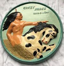 Vintage Hand Painted Chalkware Signed Korczak Ziolkowski Plaque Crazy Horse