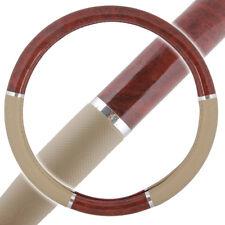 Dark Wood Grain Steering Wheel Cover for Van Car SUV Premium Beige Syn Leather