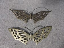 VINTAGE TWO BRASS BUTTERFLY WALL HANDING DECORATION 8.5''X 3''