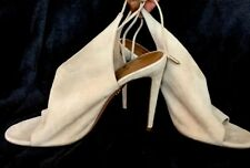 Aquazzura Shoe Beige Suede Tie Back Open Toe Slim Heel Size 40 New