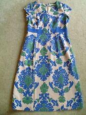 Boden UK Size 10 Blue Cream Floral Dress - Cotton - Lined