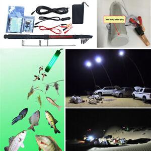 12V Kit Green LED Underwater Submersible Fishing Fish Light + Outdoor Post Lamp