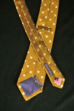 "Seaward & Stearn London 100% Woven Silk Gold Polka Dot Neck Tie 3-1/4"" x 59"