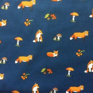 NEW! PolyCotton Fabric Kids Woodland Fox  Animals Print Reduced Price