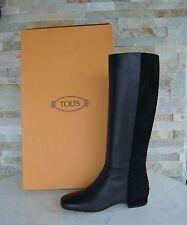Tods Tod´s Gr 39,5 Stiefel Boots Schuhe Shoes Suede schwarz + grau neu UVP 680 €