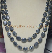 Natural 13x18mm Oval Black Gray Labradorite Gems Beads Necklace 54 inches