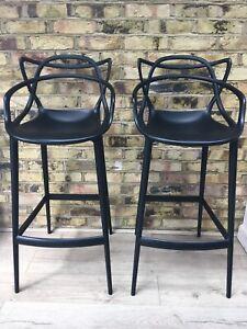 Two Original Philippe Starck Kartell Masters Bar Stools, Black. 109cm tall,