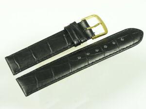 13mm Uhrband schwarz mit Krokoprägung