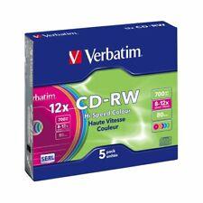 CD-RW 12x 700MB Verbatim Regrabable Colours Caja Slim pack 5 uds