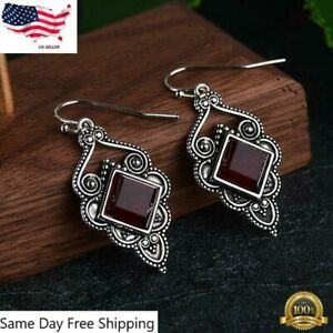 Vintage Boho Drop Earrings 925 Silver Plated Jewelry Artificial Ruby 1 Pair