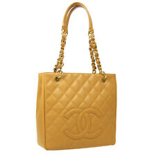 CHANEL Petit Shopping Tote PST Chain Hand Tote Bag 11519793 Beige Caviar 35613