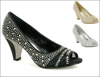 Ladies New Stone Peep Toe Stunning Block Heel Wedding/Party Formal Shoes UK Size