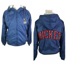DISNEY Catalog VTG MICKY Back Patch Front Embroidery Lined Hooded Jacket Mens S