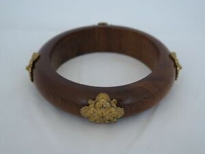 Very Nice Stephen Dweck Wood & Bronze Grenada Bangle Bracelet LQ-30