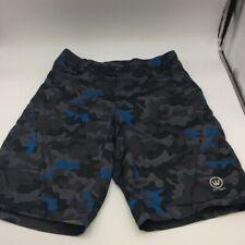 Canari Mens Cycling Shorts Black Gray Teal Camouflage Lined Zip Fly Snap Close L