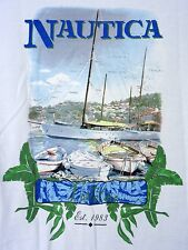 Nautica T Shirt White Boats Palms Size Medium 100 % Cotton