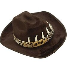 Black Cowboy Hat With Teeth Crocodile Dundee Hunter Western Croc Movie Adult