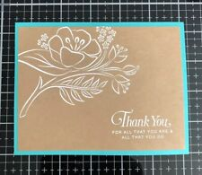 """Card Kit Set Of 4 Stampin Up White Embossed """"Thank You"""""""
