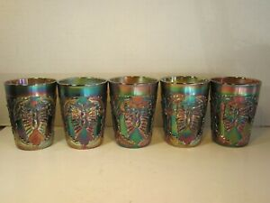 Set of 5 Green Antique Fenton Butterfly & Fern Carnival Glass Tumblers