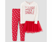 Carters Girls 2T Toddler PJs Sleepwear Tis the Season to Sparkle NEW Christmas