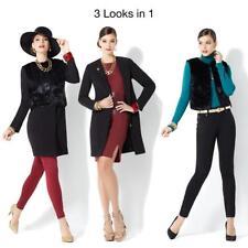 IMAN Platinum Luxe City Coat with Couture Faux Fur Vest Jet Black Small Size HSN