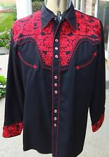 SCULLY EMBROIDERED BLACK RED PEARL SNAP WESTERN SHIRT MENS M
