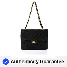 Chanel Mujer Vintage Cuadrado Acolchado Solapa De Cuero Clásico Cartera de mano negro