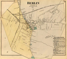 "Berlin Md. 1877 Town Map Poster 17""X22"" Worcester County Copy from Rare original"