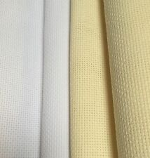 -14 Count Aida Cross Stitch Fabric White or Cream Various Sizes 100% Cotton
