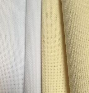 -14 Count Aida Cross Stitch Fabric White or Cream Various Sizes 100% Cotton