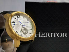 Heritor Automatic Rose Gold & Black Leather Watches 44mm
