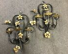 ANTIQUE PAIR CANDLE WALL SCONCES ITALIAN GILT TOLE METAL SCULPTURED TULIP HOLDER