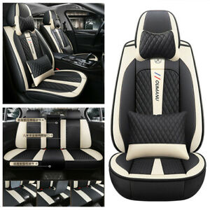 Full Surrounded 5-Seat Car Protector Covers Black Deluxe Leather Interior Trim