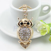 Owl Crystal Keyring Charm Pendant Purse Handbag Bag Key Ring Chain Keychain Gift