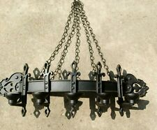 """27"""" Midwest Homco Medieval Gothic Black Metal Chain Wall Sconce 5 Candle Holder"""
