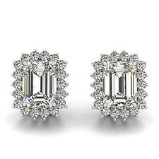1.00 CT FOREVER ONE GHI MOISSANITE EMERALD HALO STUD EARRINGS