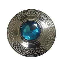 Men's Scottish Kilt Fly Plaid Celtic Brooch Sky Blue Stone/Celtic Brooches Ladie