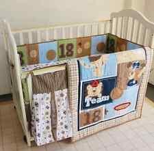 8 Piece Baby Boy Bedding Set Sports Balls Nursery Quilt Bumper Sheet Crib Skirt
