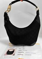 Gucci Black GG Logo Monogram Canvas Leather Jackie O Shoulder Hobo Bag Italy