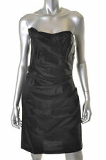 ALEXIA ADMOR ~ Black Taffeta Ruched Strapless Sheath Party Dress S NEW $250