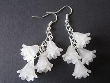 Long Drop / Dangle Earrings - Fuschia / Snowdrop Cluster - White - Silver Plated