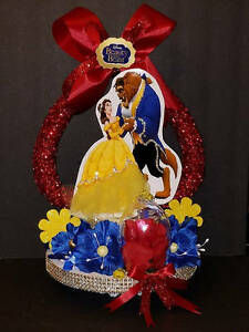 """Lighted Beauty and the Beast 1pc 3D  cake topper centerpiece decoration 17"""" tall"""