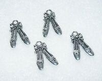 8 Ballet Shoe Charms for Bracelet, Slipper Pendant Necklace Supplies Silver Tone