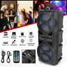 """Dual 6.5"""" Woofer Portable FM Bluetooth Party Speaker Heavy Bass Sound Remote US"""