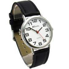 Ravel Mens Super-Clear Easy Read Quartz Watch Black Strap White Face R0105.06.1A