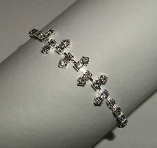 CLASSY CLEAR DIAMANTE GLASS CRYSTAL BRACELET WEDDING evening 6.5 SILVER PLATED