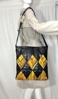Zur Art Black Leather Quilted Fabric Large Tote Shoulder Bag Shopper Purse