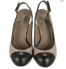 Chanel Grey/black Lizard Slingback Pumps,Italy size 39,5